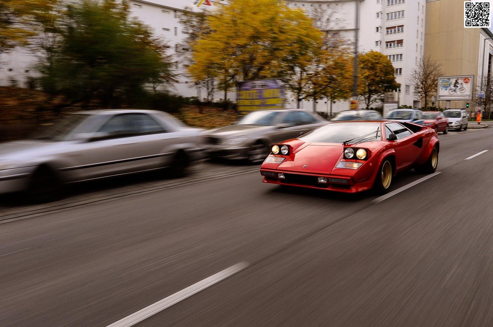 Enjoy This Red Wingless Lamborghini Countach